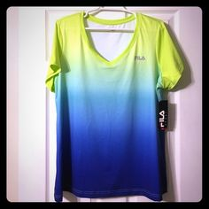 *NWT* Plus Sized FILA Workout Shirt NWT FILA performance workout shirt in an ombré color effect of lime green on top to deep navy blue on bottom. Could be see through on top depending on color of sports bra paired with this beaut. Silky soft with wicking technology. Fila Tops Tees - Short Sleeve