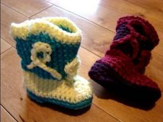 Free crochet pattern for baby cowboy boots. Text instructions are below the video.