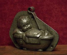 Antique two part chocolate mold of a sweet baby child in the bath by Anton Reiche. Chocolate Candy Molds, Chocolate Ice Cream, Old Candy, Food Mold, Butter Molds, Vintage Candy, Easter Candy, Antique Lamps, Cake Mold