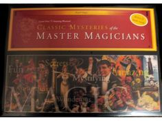 Classic Mysteries of the Master Magicians includes Cup and balls, Alexanders number mystery, multiplying coin tray, spiked coin, the ball vase and much much more! Secret Apparatus and illustrated bonus book to perform over 75 assorted tricks.