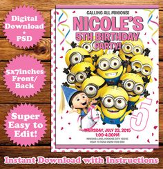 This Instant Downloadable Is For A Photoshop PSD Birthday - Birthday invitation template minions