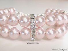 Viviana  BRIDAL BRACELET Pink Pearls Bridal by AuroraJewelryBox, $44.00