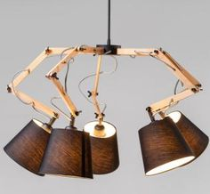 Solid wood architecture spider lamp