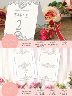 Table Place Card Template PC3004. Wedding Card Templates