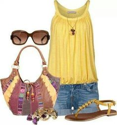 *love this but with jeans, straight or bootcut, a yellow top without a waist band but loose. No glasses*