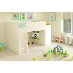 Ameriwood Home Elements White Loft Bed with Dresser and Toy Box Bookcase by Cosco