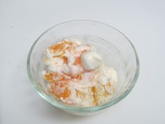Ambrosia fruit salad - some add cherries, but I don't. Pineapple chunks, mandarin orange slices, and marshmallows. You can mix it with sour cream, but I use Dream Whip, a whipped cream mix. You can find that in the section of the grocery store with the Jell-O mixes and pudding mixes.