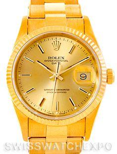 Rolex Date 18k Yellow Gold Mens Watch 15238
