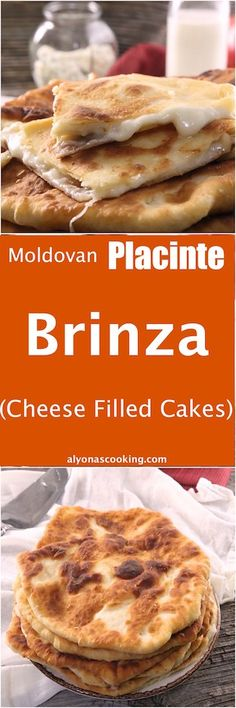 You don't necessarily have to be a cheese lover to enjoy these incredibly delicious Moldavian pastries. Stuffed with a combination of feta & mozzarella cheese (brinza), these stuffed flat cakes sure taste amazing for their not so appealing shape. Delicious Breakfast Recipes, Dessert Recipes, Yummy Food, Feta Cheese Recipes, Flat Cakes, Greek Dishes, Main Dishes, Romanian Food, Cheese Lover