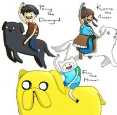 Adventure time, Legend of Korra and Percy Jackson!