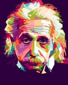 Einstein by @dayatbanggai, Portrait of Albert Einstein as digital art created in inkscpe with WPAP (Wedha's Pop Art Potrait) style, on @openclipart