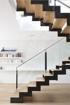 Contemporary design requires large windows, odd shapes, glasses, and comfort. Using contemporary design, you will be able to find the materials required to remodel staircase easily. Railing Design, Stair Railing, Staircase Design, Railings, Glass Railing, Banisters, Contemporary Stairs, Modern Stairs, Interior Stairs