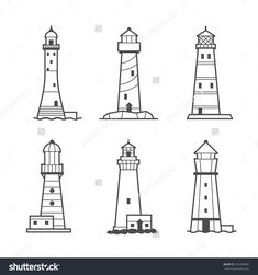 Buy Simple Vector Icon Or Logo Set Of Lighthouses by primulakat on GraphicRiver. Simple vector icon or logo set of black and white lighthouses. Searchlight towers for maritime navigational guidance Lighthouse Sketch, Lighthouse Painting, Easy Drawings, Tattoo Drawings, Bleistift Tattoo, Lighthouse Pictures, Ship Drawing, Vector Icons, Doodle Art