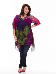 Plus size Bold Empire Waist Tunic by Silk Threads. Great colours & LOVE the shark-fin hem! $109.99