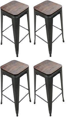 Titan 30 Modern Metal Stacking Counter Bar Stool W Wood Seat Set
