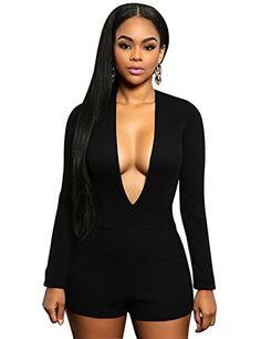 Women Sexy Long Sleeve Deep V Neck Slim Fit Shorts Bodycon Short Jumpsuit  Romper Black M 96a752b22