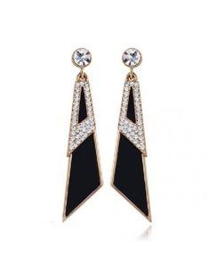 Lovely Rhinestone Knife Triangle Shape Fancy Earrings