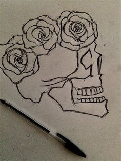 ROSE DRAWING instead of roses butterflies and it could be a single line drawing Pencil Drawings Of Flowers, Cool Art Drawings, Pencil Art Drawings, Drawing Sketches, Drawing Ideas, Drawing Drawing, Skull Drawing With Flowers, Drawings Of Butterflies, Drawings Of Skulls