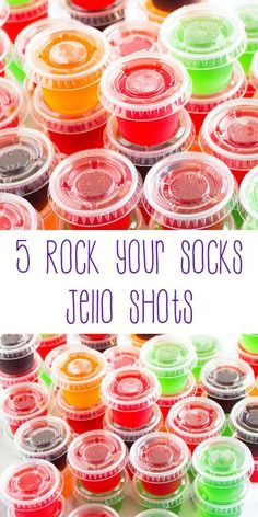 5 Rock Your Socks Jello Shots – It wiggles. It jiggles. It's fruity jello fused with alcohol to create the perfect marriage of flavors in a one-ounce cup. These jello shots are fun, enjoyable, and will rock your socks. drinks 5 Rock Your Socks Jello Shots Alcohol Jello Shots, Best Jello Shots, Making Jello Shots, Jello Pudding Shots, Alcohol Drink Recipes, Jello Shots With Vodka, Summer Jello Shots, Fun Shots, Jello Shooters Recipe Vodka