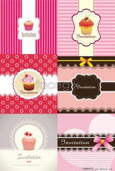 Cute cake packaging design vector