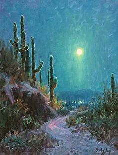 Desert Moonlight, Southwest Saguaro Cactus impressionist oil nocture landscape painting = giclee paper print, white mat and ready to frame by BeckyJoyPaintings on Etsy