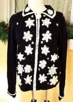 Arriviste Michael Simon Petite Snowflakes Sweater PL Party Fun Cute Wear w/Jeans #ArrivisteMichaelSimon #FullZip