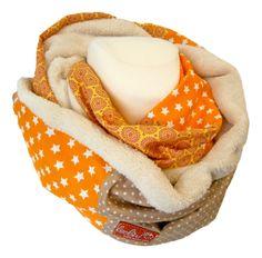 Handgefertigter Loopschal, Schlauchschal,  Sterne orange von Leolini  auf DaWanda.com