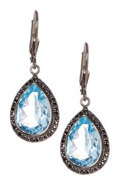 Blue Topaz Cushioned Black Rutile Drop Earrings by Phillip Gavriel on @HauteLook