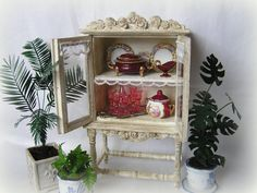 Dollhouse Miniature Shabby Chic China Cabinet by MiniAbuela,