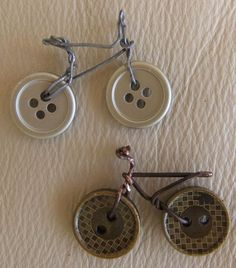Bikes from buttons, wire and paperclips.