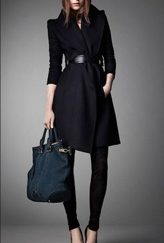 Winter Coat Navy Blue Coat Long Wool Coat Winter by colorfulday01