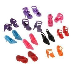 Free shipping 100Pairs/lot High Quality High-heel Shoes For Barbies Dolls Mixed Styles Sandals Slippers 10Pairs/Pack  Doll Shoes #Affiliate
