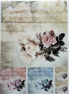 Rice Decoupage Paper / Decoupage Sheets  / Scrapbooking / COTTAGE ROSES