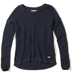 Hollister Iconic Pullover Sweater (37 CAD) ❤ liked on Polyvore featuring tops, sweaters, navy, slit top, navy top, navy blue pullover sweater, pullover sweaters and sweater pullover