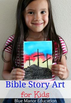 Bible Story Art for Kids including water color crosses and a baby Moses scene.