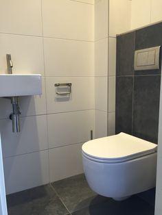 Wandtoilet en urinoir met stroken tegels op achterwand in for Tegels wc voorbeelden