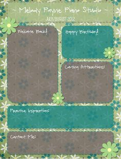 The Plucky Pianista: Creating Attractive Newsletters Using FREE Digital Scrapbooking Supplies!