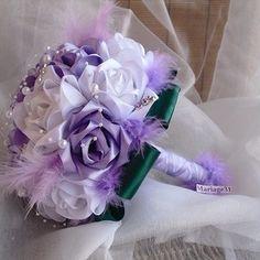 Bouquet de mariée en parme et blanc