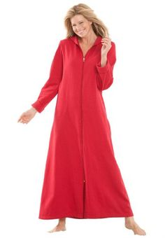 Dreams and Company Plus Size Long ultra-soft fleece hoodie robe $24.99 #bestseller