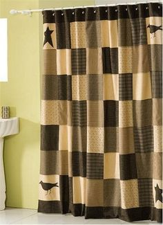 Primitive shower curtain, rustic shower curtain, patchwork shower ... : rag quilt curtains - Adamdwight.com