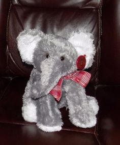 9-034-DANDEE-Soft-Grey-PLUSH-Elephant-Hang-Tag-MAROON-GOLD-BOW-SS