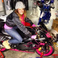 Love my pink ride, pink motorcycle