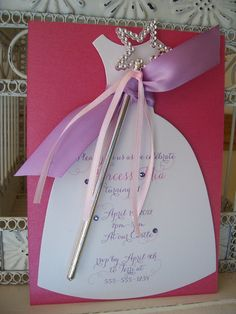 Pretty Princess Birthday Invitation with Wand - Custom Dress Die Cut. $3.00, via Etsy.