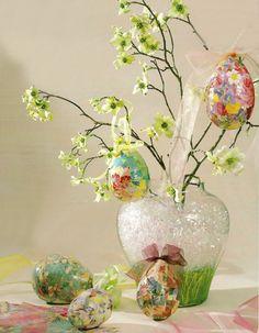 How beautiful!  Decoupaged Easter Eggs designed by Heidi Borchers, via favecrafts.com