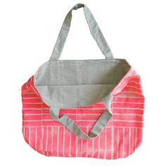 Bolsa de algodón extra-grande, estampado a mano; forrado en lino natural, manijas de cuero