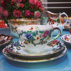 Royal Cauldin Victoria pattern trio tea set C 1920 vibrant coloured pretty floral decoration in country chic style and shape
