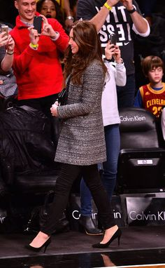 Kate Middleton in a Tory Burch coat and black jeans at the Brooklyn Nets game