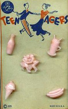 "Love These! Vintage ""teen"" themed novelty buttons http://www.pinterest.com/lindajodolls/sewing/"