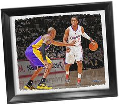 Chris Paul Dribbling Versus Kobe Bryant Framed Stretched 22x26 Canvas Uns