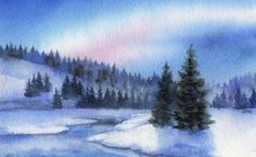 WINTER CREEK watercolor landscape painting, painting by artist Barbara Fox